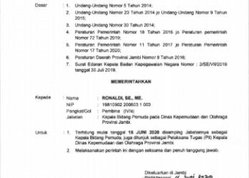 Surat Resmi Gubernur Jambi Penunjukan PLT Kadiskepora (Foto: doc/Humas Pemprov Jambi)